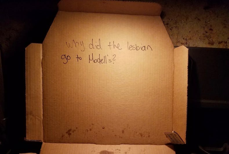 Lesbian couple upset after getting crude joke inside their pizza box