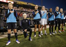 Megan Rapinoe kneels during anthem before US match vs. Thailand