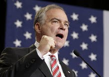 How does Tim Kaine's religion influence his positions on LGBT rights?
