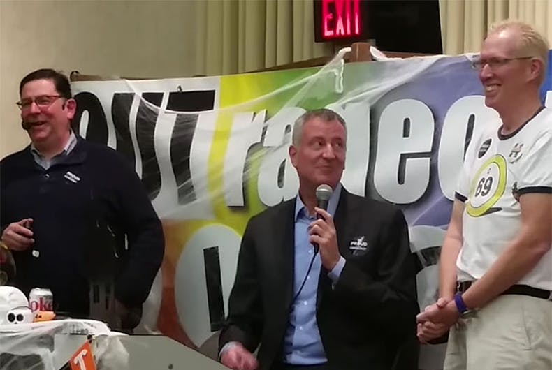NYC Mayor Bill de Blasio crashed Pittsburgh's Halloween gay bingo game