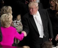Trump's roast at Al Smith dinner gets rare boos, Hillary's wins laughs