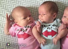 Watch: Ellen surprises two dads with gifts for their newborn triplets