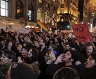 Across the nation, thousands of people protested Trump's election last night