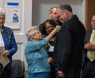 Tim Kaine casts vote, but happily waits for 99 year-old woman to go first