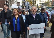 Gay NYC councilman threatened with death leads protest march to Trump Tower