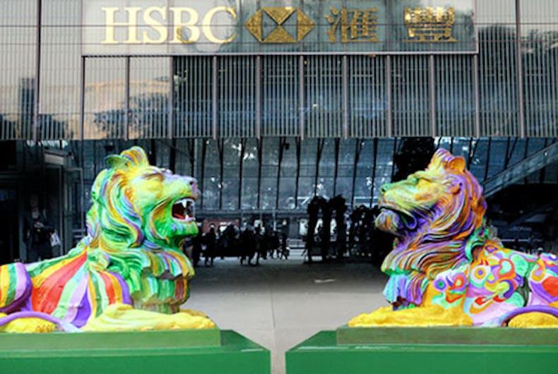 Bigots roaring mad at 'disgusting gay lions' Pride display in Hong Kong