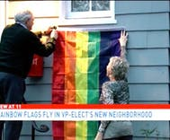 Mike Pence's new neighbors hang pride flags on their homes to protest homophobia