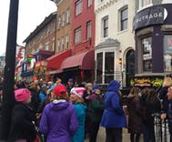 Long line at D.C. store selling Women's March merch, as protests continue