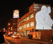 Images of Putin and a pregnant Trump locked in a sweet embrace appear in NYC