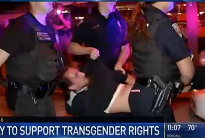 Police caught on tape tasing & arresting marcher at transgender rights protest