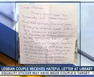 Anonymous 'Republican' leaves nasty note on car of older lesbian couple