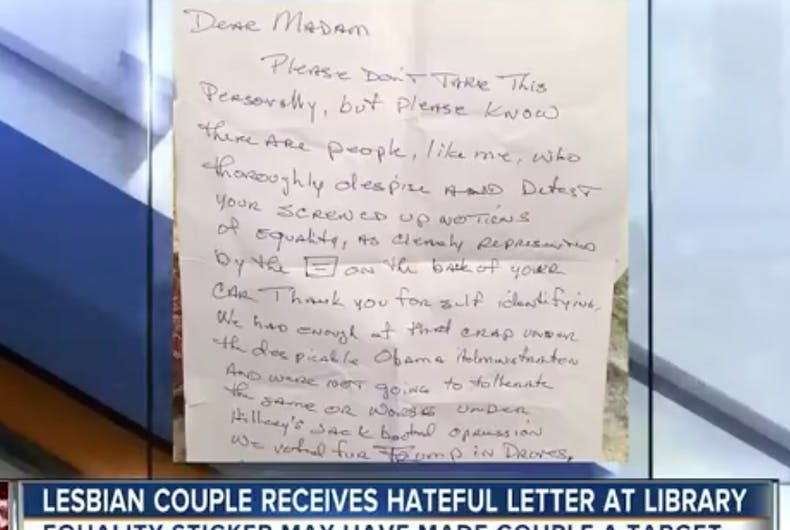 Anonymous Republican Leaves Nasty Note On Car Of Older Lesbian