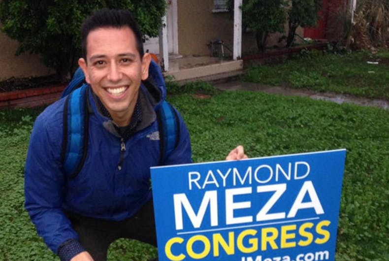 If elected, Raymond Meza would be the first openly gay Latino congressman