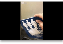 Watch: 'Patriotic miscreant' tears down gender neutral bathroom signs