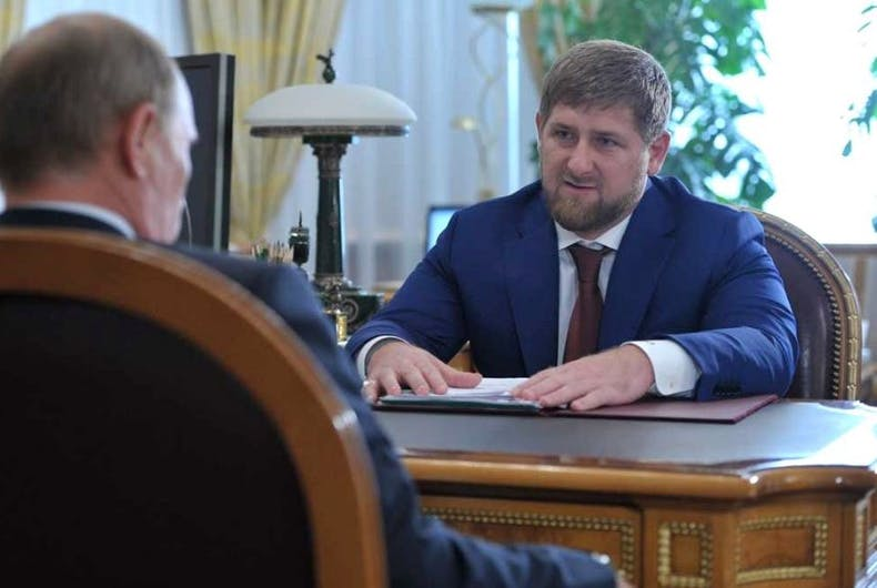 Ramzan Kadyrov, head of Chechnya, meets with Russian President Vladimir Putin