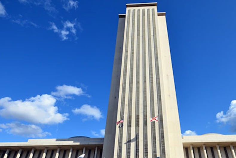 Bathroom police catch two guys in the act high atop Florida's phallic capitol