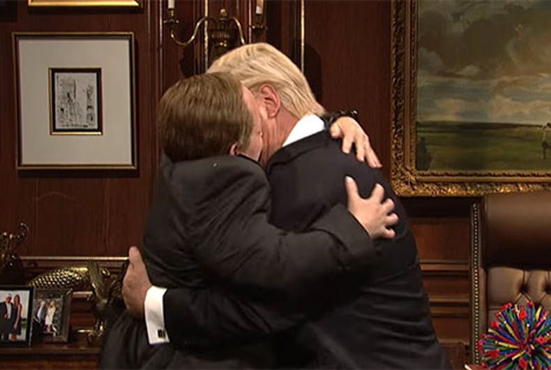 Sean Spicer and Donald Trump make out on SNL