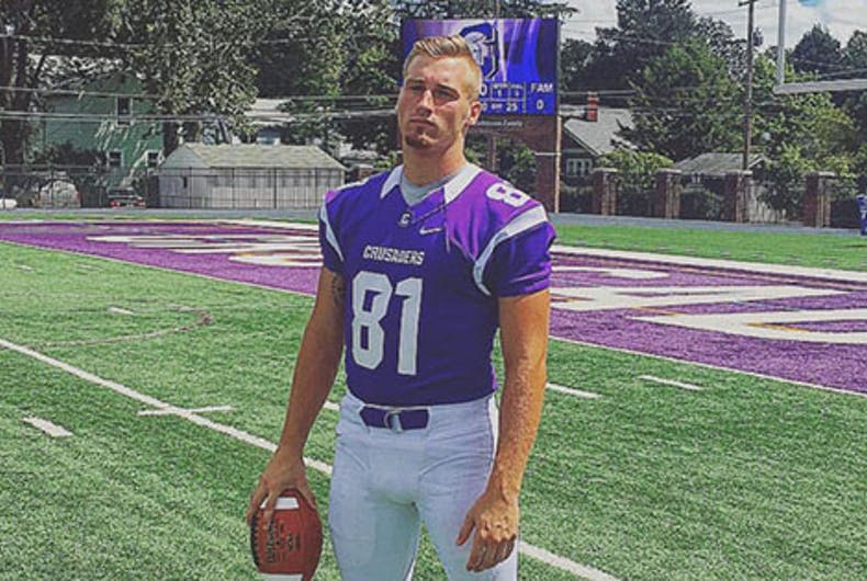 This football player scored immediate acceptance when he came out in high school