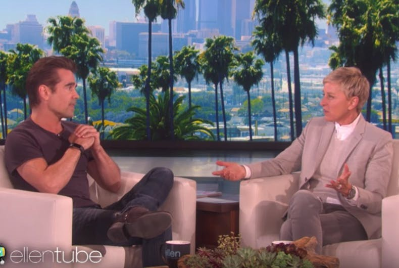 Why is Colin Farrell talking to Ellen about his pubic hair?