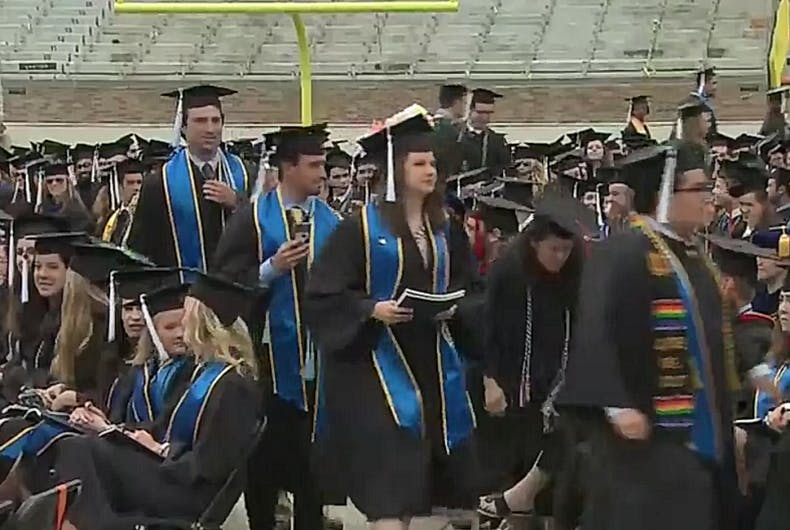 Over 100 students walk out of Mike Pence's commencement speech