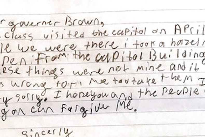 Oregon governor forgives boy who stole pen & hazelnut