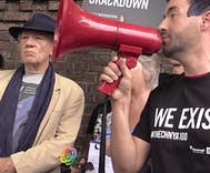 Ian McKellen joins protest against Chechen anti-gay violence