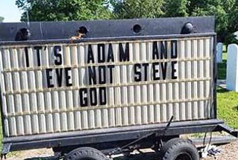 The sign that was outside Providence United Methodist Church in Georgetown, Delaware.