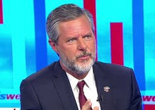 Even as students return their diplomas, Jerry Falwell Jr. continues to defend Trump's racism