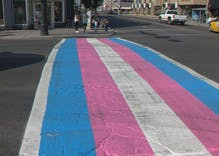 Transgender crosswalk hits the streets of Calgary for pride