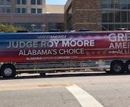 Roy Moore's campaign bus includes a typo & his opponent has seized on it beautifully