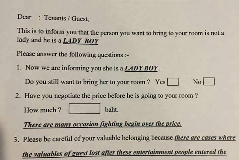 Why is an Omni hotel warning guests that 'ladyboys' could rob them?