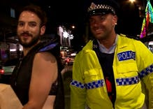 This excited gay boy found the best way to get on a police TV show