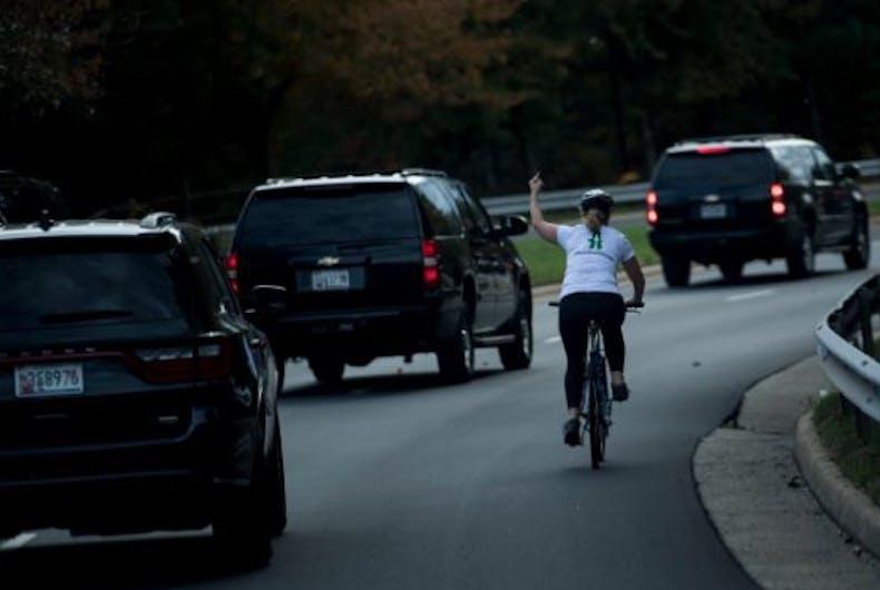 Trump motorcade finger