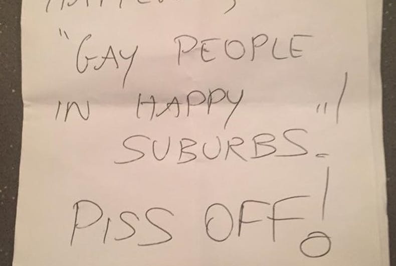 A gay couple is getting hate mail from a sore loser