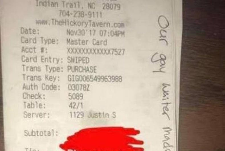 Restaurant punishes server after customer leaves antigay insults on their receipt