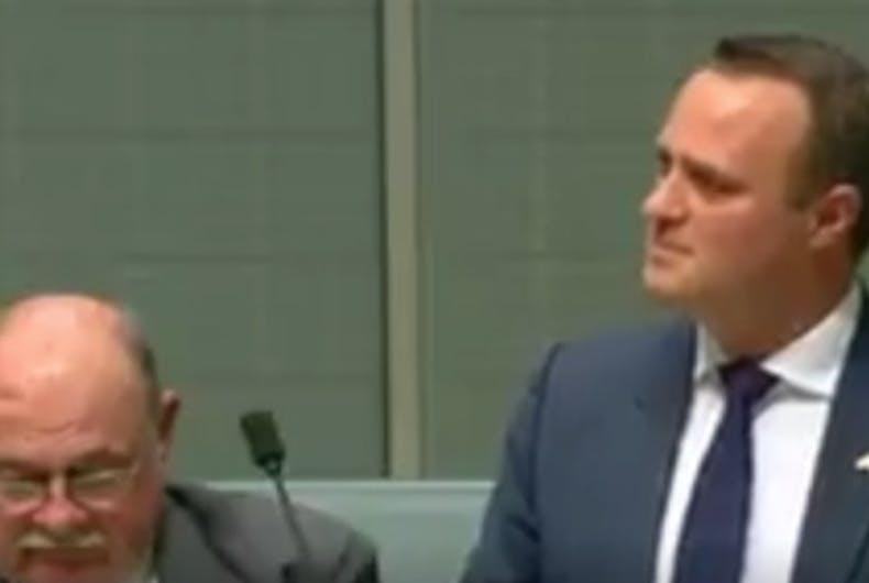 Australian member of parliament proposes during marriage equality bill debate