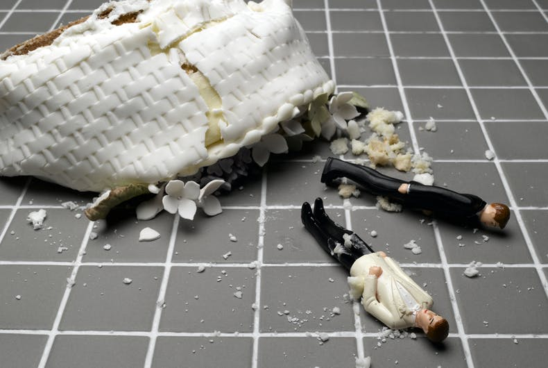 smashed gay wedding cake