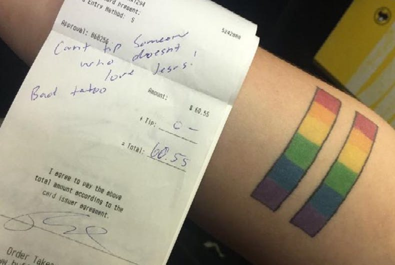 'Christian' family leaves lesbian server a nasty note instead of a tip
