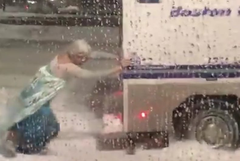 Watch a drag queen Elsa save the day for the Boston police
