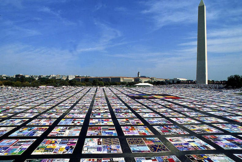 The Names Project AIDS Memorial Quilt covered the National Mall during October 1987's Second National March on Washington for Lesbian and Gay Rights.