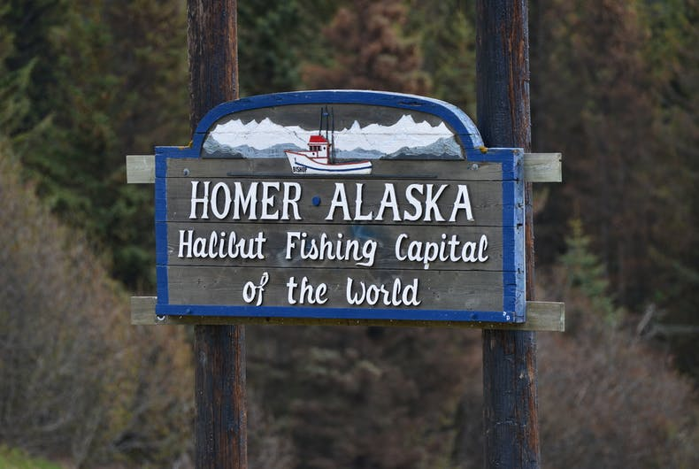 Welcome sign for Homer, Alaska