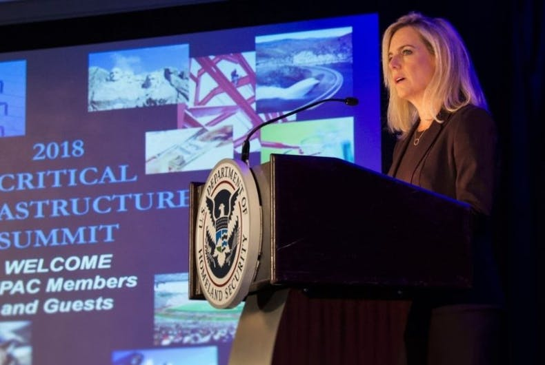 Department of Homeland Security Secretary Kirstjen Nielsen speaks at the 2018 CIPAC Meeting on March 2, 2018.