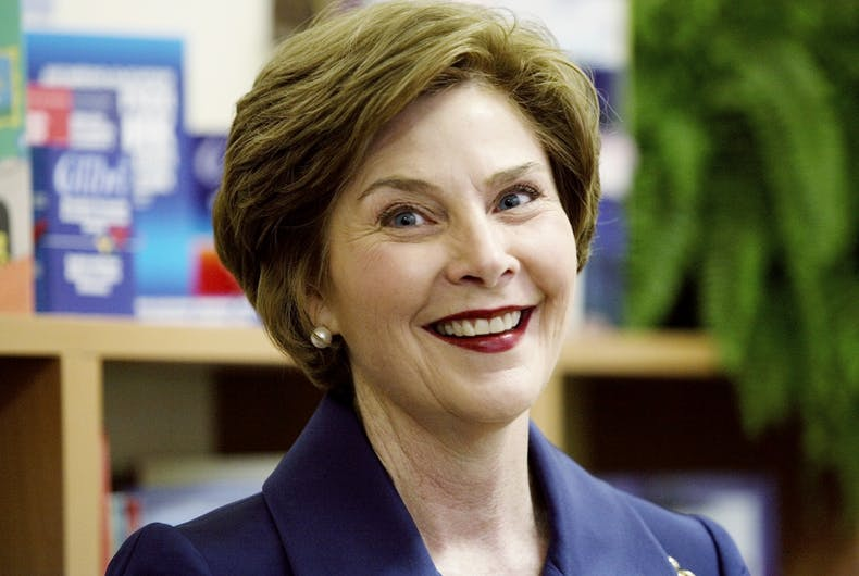 Former first lady Laura Bush visiting Sofia, Bulgaria on June 11, 2007
