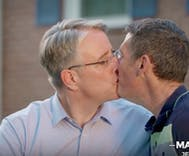 Gay candidate's kiss with his husband in political ad is nation's first