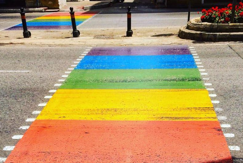 A rainbow crossing has replaced the traditional