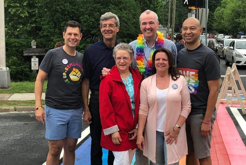 Maplewood Township Committee member Dean Dafis (Left) with Victor De Luca, Governor Phil Murphy, Frank McGehee, Mila Jasey, and Nancy Adams at the crosswalk's unveiling.