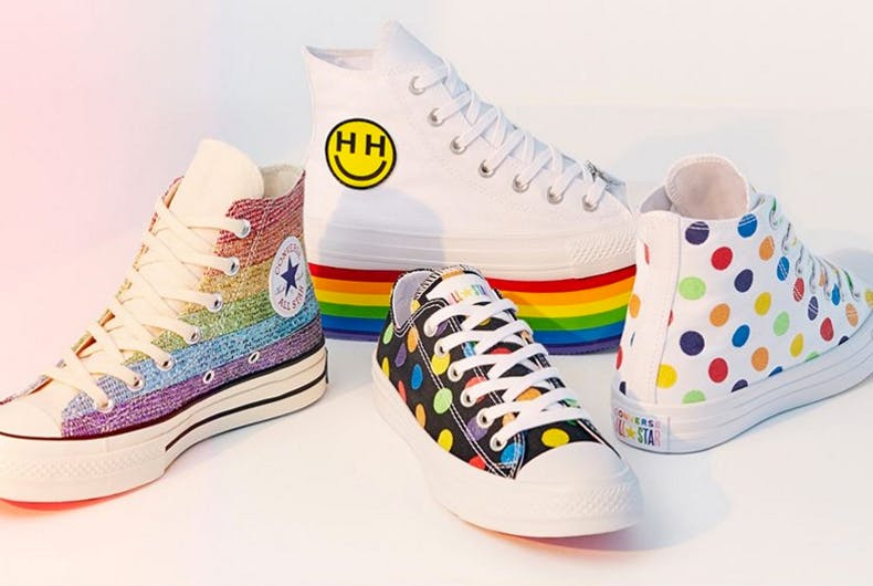 Converse's 2018 Pride Collection's footwear options include rainbow stripes and polka dot options.