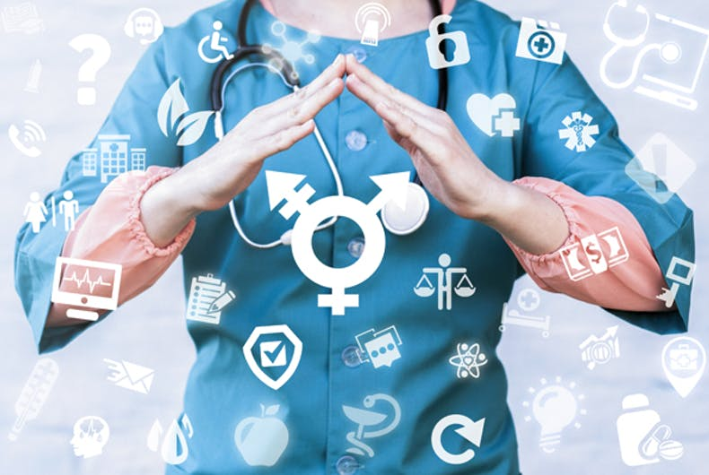 A doctor makes a roof over a transgender symbol