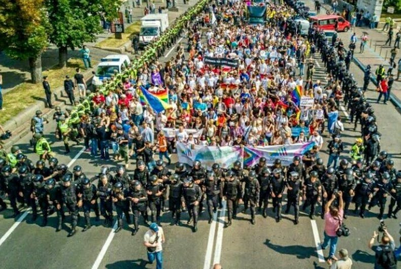 Thousands of Ukrainian riot police swarmed Kiev Pride & arrested dozens