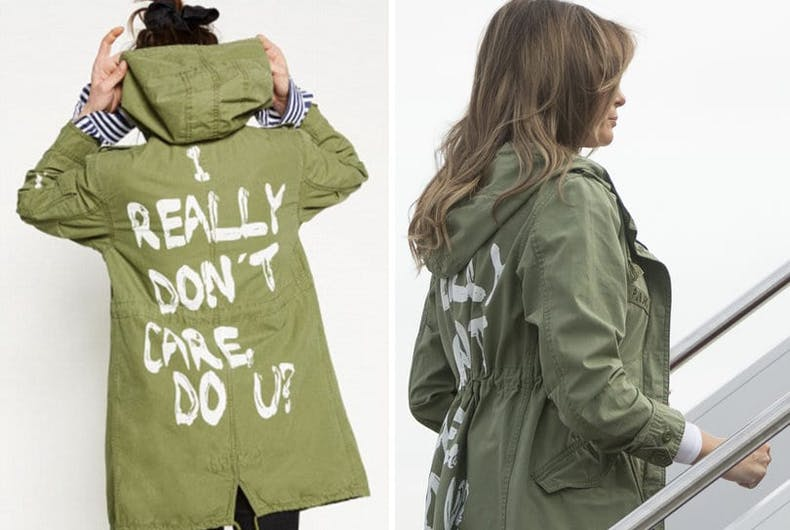 Side by side showing Melania Trump's jacket and the slogan